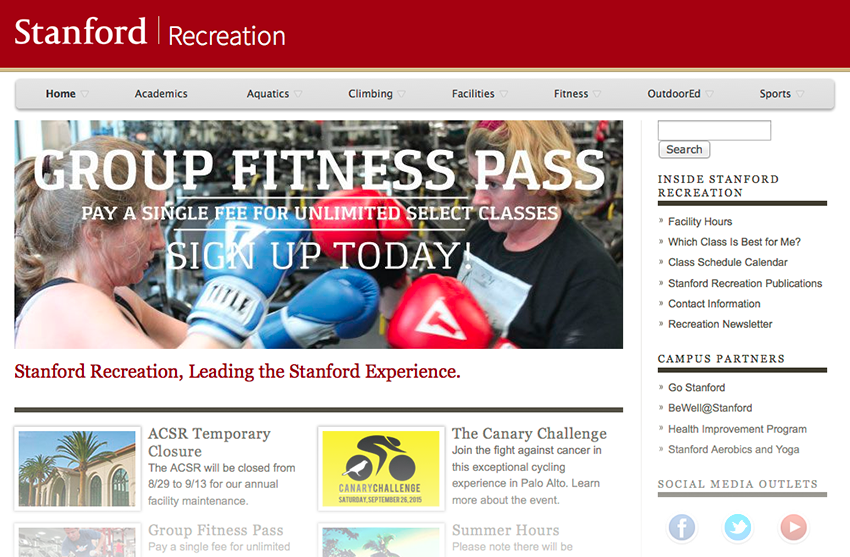 Screenshot from the Stanford Recreation site