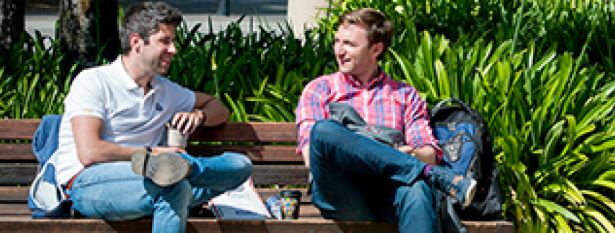 Two male students talking while sitting on a sunny bench