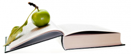 Green apple on top of open book