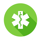 Icon of Staff of Asclepius on white asterisk on green circular background